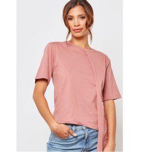 Topshop Asymmetrical Short Sleeve T-Shirt Pink 6